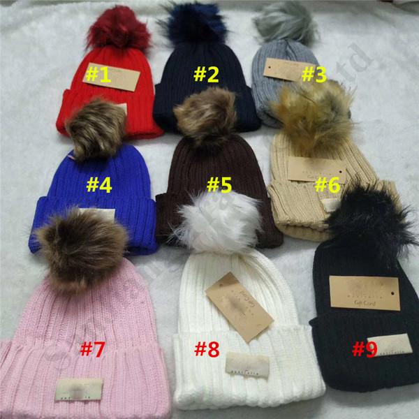 Winter Warm Fluffy Ball Artificial Pompon Knitted Beanies Hat Australia U&G Unisex Bonnet Ski Hats Gorro Crochet Hats Skull Caps C102208