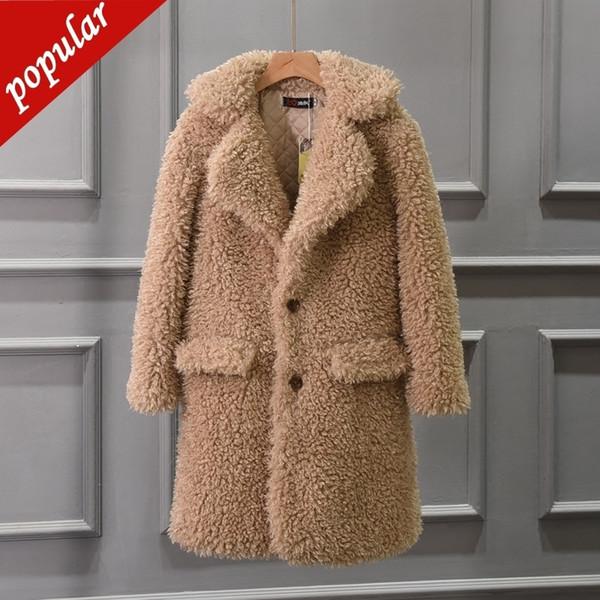 Женская мода Толстая овечья шерсть из искусственного меха Пальто Женская Зимний отложной воротник с длинным рукавом с длинным пиджаком Пальто и пиджаки W1405