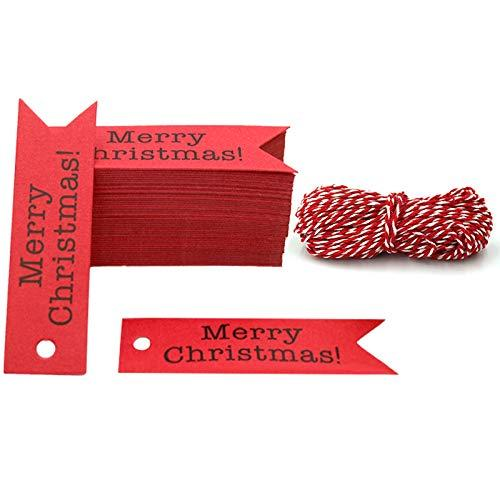Merry Christmas Tags, 100 PCS Kraft Paper Gift Tags with rope Perfect for DIY Arts and Crafts, Wedding Christmas Thanksgiving and Holiday