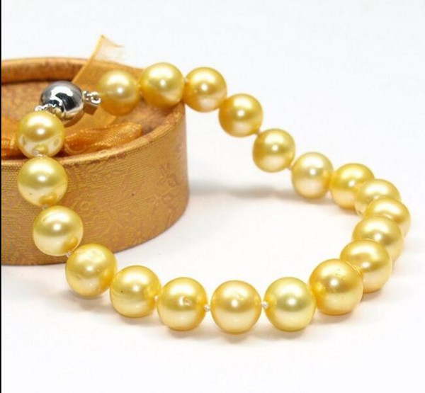 """Fast Free shipping New Real Fine Pearl Jewelry real Single strands 10-11mm south sea Yellow gold pearl bracelet 7.5.8""""14k"""