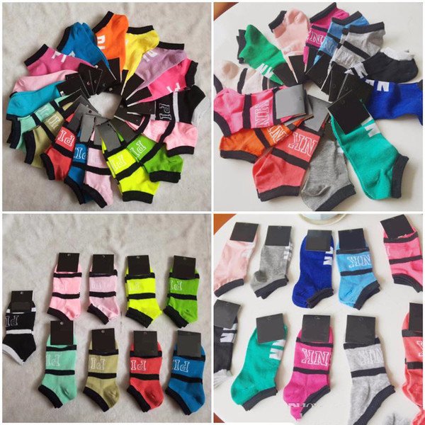 best selling 2019 Pink Black Ankle Socks Blue Sports Cheerleaders Short Sock Girls Women Cotton Sports Socks Pink Skateboard Sneaker Stockings With Tags