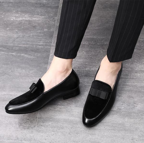 Ayakkabı Siyah Rugan Kırmızı Süet Loafers Erkekler Formal Ayakkabı üzerinde Beyler ilmek Gelinlik Erkek Flats Casual Kayma
