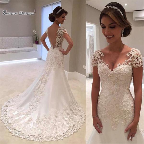 top popular Vintage Lace Mermaid Wedding Dress V Neck Short Sleeves Backless Bridal Gown Vestido De Noiva Casamento Mariag 2020