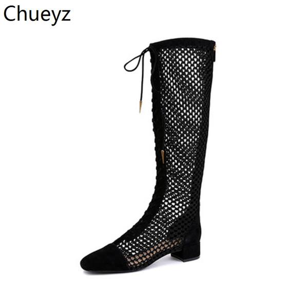 Chueyz Seksi Çizmeler Çizmeler Kadınlar Üzerinde Diz Çizmeler Yaz Ayakkabı Moda Şeffaf Örgü Streç Hakiki Deri Üst