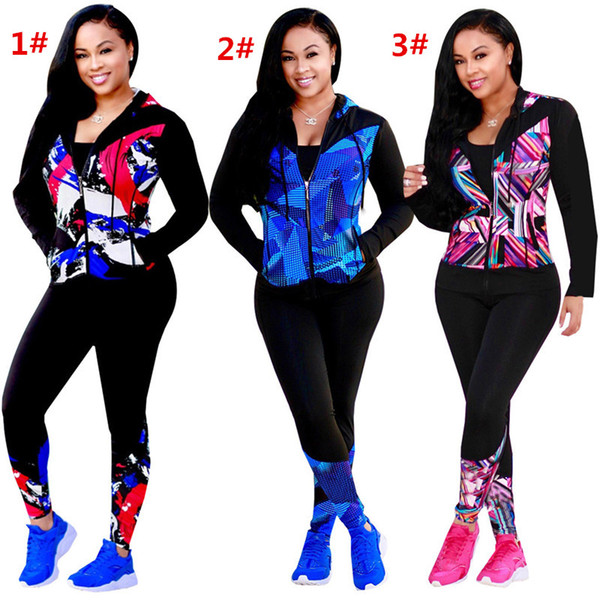 Women Outfits Tracksuits Cardigans Long Sleeve Hoodie + Leggings 2pcs Set Zipper Panelled Sportswears Colorful Night Club Suits 3 Styles