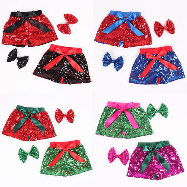Bebê Lantejoulas Shorts com lantejoulas hairpin Crianças Glitter Dança Calças Meninas Bling Boutique Shorts Calças Casuais Bowknot Verão Shorts KKA7141