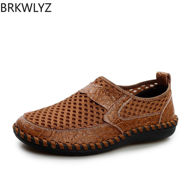 Genuine Leather Summer Breathable Soft Male Mesh Shoes For Men Adult Walking Casual Quality Light Net Footwear 2019 Size 38-46