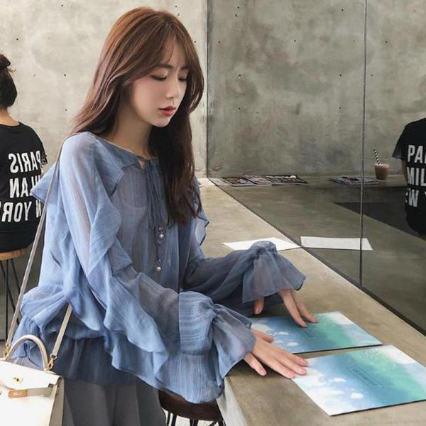 women clothes blouse women spring 2019 new arrival style blouse fairy temperament loose chiffon shirt flutter sleeve ing