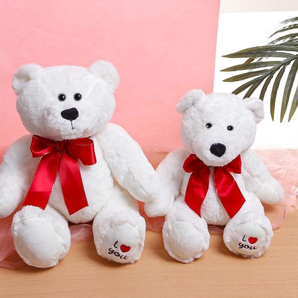 Urso branco Bow Tie Stuffed Animal Plush Toy Boneca Criança Confortável PP Tecidos De Algodão Presentes de Aniversário Dos Namorados 28qc3 O1