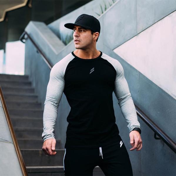 Осень мужской спортивный костюм спортивная одежда бег тренажерные залы с длинным рукавом футболка мужчины спортивная одежда фитнес с длинным рукавом