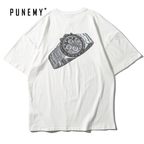 Men T Shirts Hip Hop Watch Pattern Print Oversize Vintage Streetwear Pure Cotton Top Tees Sweatshirts Leisure Man's T Shirts