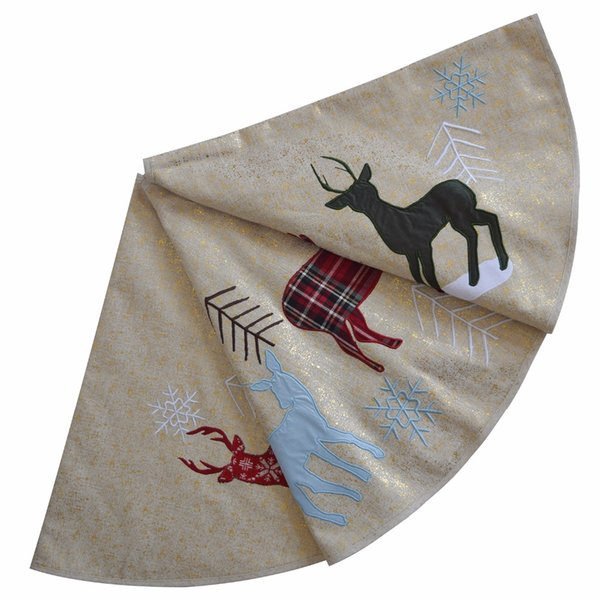 "Sorrento 50"" Linen fabric tree skirt Reindeer applique embroidery Christmas Tree Skirt Christmas decoration"