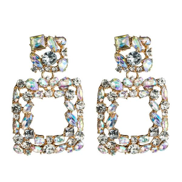 ong tassel earrings KMVEXO 2019 Large Square Rhinestone Earrings Crystal AB Pendientes Boucle D'oreille Statement Wedding Bridal Jewelry ...