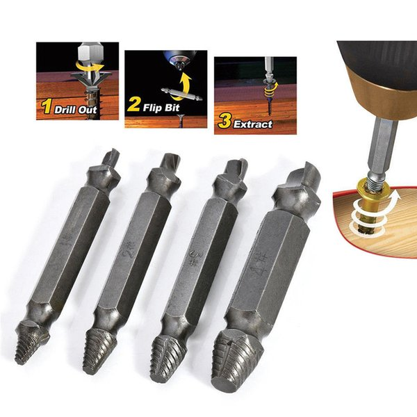 best selling 4PCS Broken Bolt Damage Screw Remover Extractor Drill Bits Easy Out Stud Tool