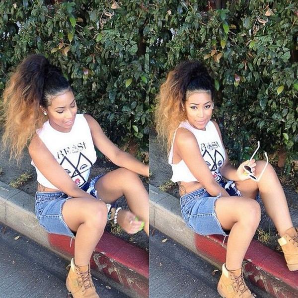 Hot Kinky bouclés 1b / 27 racines sombres ombre blonde vierge brésilienne cheveux cordon de serrage queue de cheval extensions de cheveux ombre queue de cheval hairpiece20