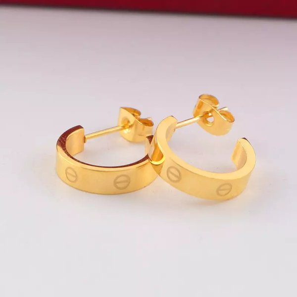 best selling Hot sale High Quality Fashion boys girls titanium steel rose gold silver love letter size L S stud earrings for Women men lovers jewelry