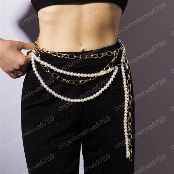 Nouvelle mode des femmes Chaînes de corps plaqué or jaune perle ceinture Chians pour les filles femmes mailles sexy Ceinture