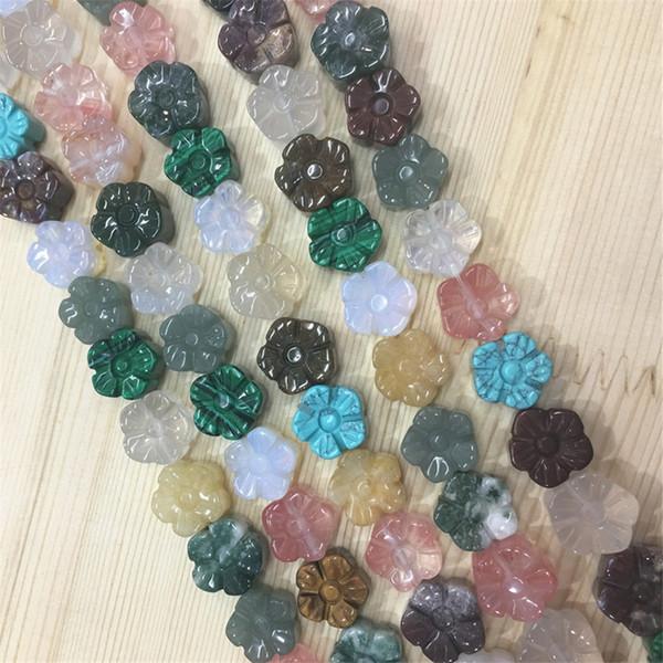 Nuovo 15x7mm Perle di Pietra Naturale Agate di Fiori, Occhio di Tigre, Rose Quarzo Opale Per FAI DA TE Collana Bracciali Monili Delle Donne Che Fanno 16 PZ