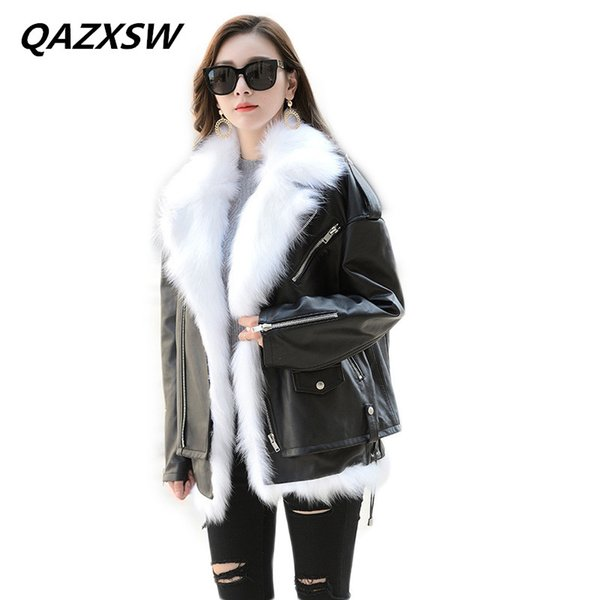 2018 New Women's Winter Genuine Leather Jacket Motorcycle Outer Fox Fur Grass Vest Two-piece Thick Warm Warm Thin Coat LE476