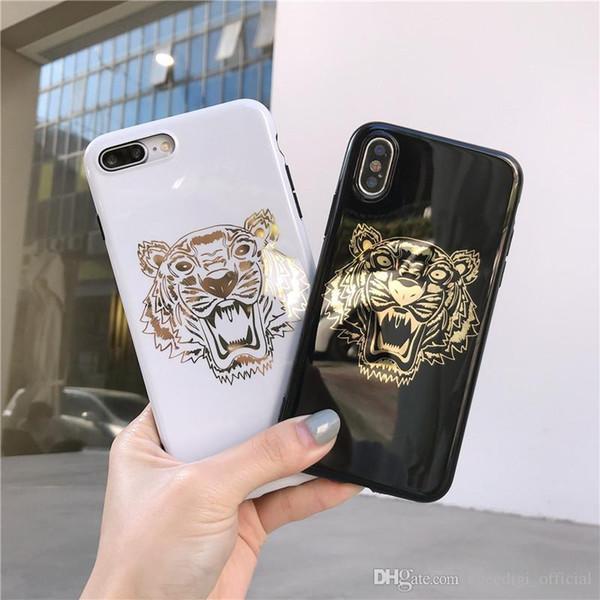 Novo hot stamping tiger phone case para iphone xs max xr xs 7 plus 6 6 s além de 8 8 plus x escudo do telefone móvel entregar belo packagin