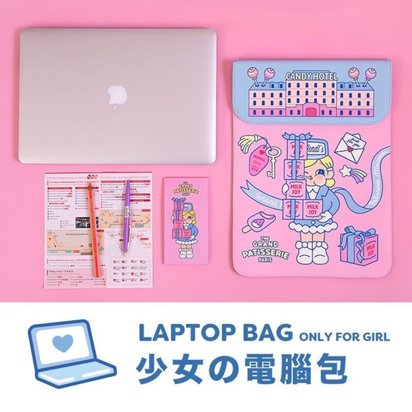 Bentoy Milkjoy Cartoon Printed Handbag for Girls 15 13 12inch Laptop bag Mac iped Case Holder Women Cute Funny Fashion New Bags