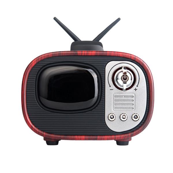 Retro stile TV Altoparlanti Bluetooth Altoparlanti stereo con cassa in legno wireless Subwoofer Music Box con microfono FM radio TF per iPhone Samsung Smartphones