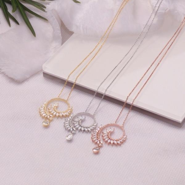 Lady The new glamour sterling silver pendant fashion druzy jewelry locket goddess swarovski elements for women
