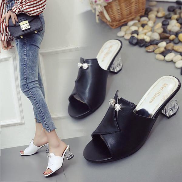 Aire Mulas Cristal Zapatos Compre De Chanclas 9 Tacón Libre Bailehou Al Moda Mujer Nuevo Alto Zapatillas A38 67bfgy