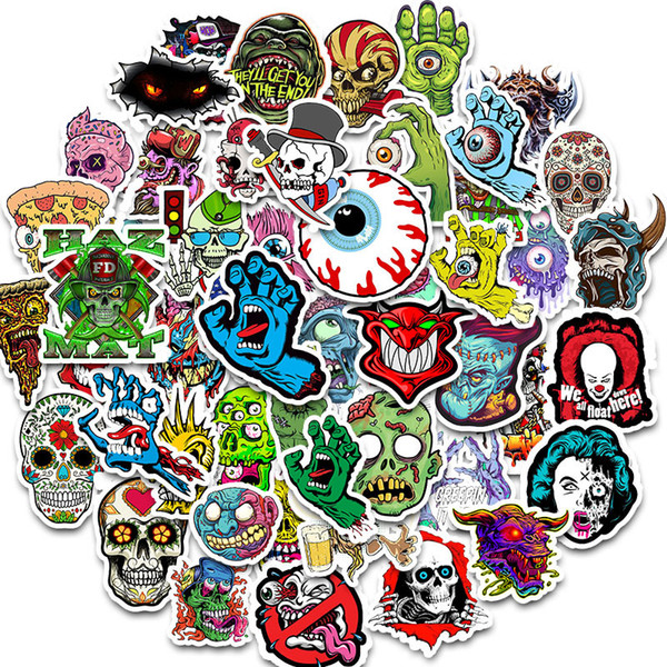 top popular 50pcs Waterproof Laptop Skull Horrible Stickers Graffiti Patches Decals for Car Motorcycle Bicycle Luggage Skateboard and Home Appliance 2021