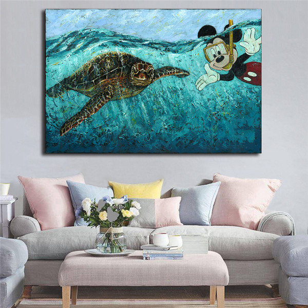 Cartoon Character Big Turtle Art Canvas Poster Painting Wall Picture Print For Home For Living Bedroom Decoration