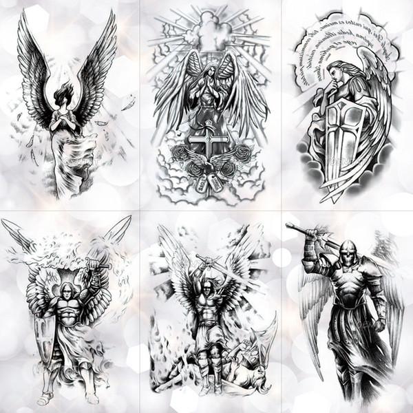 Ala Santo Ángel Impermeable Etiqueta Engomada Del Tatuaje Temporal caballero Valiente Guerrero Flash Tatuajes Body Art Brazo Falso Tatoo