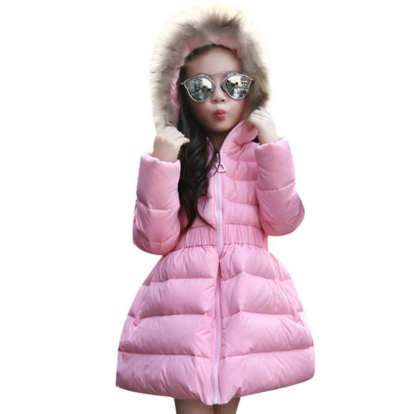 Girls Winter Coat for Fur Hooded Thick Warm Parka Down Winter Kids Clothes Cotton Children's Parkas Jacket for Girls Outwear
