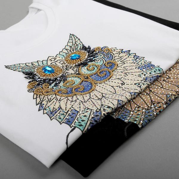 2019 Fashion Vintage Summer T Shirt Women Clothing Tops Beading Diamond Sequins Animal Owl Print T-shirt Woman Clothes Plus Size Y19072001