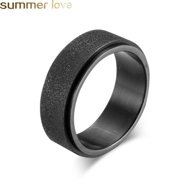 8mm Sandblast Fedi nuziali per uomo Donna Acciaio inossidabile Nero Blu oro Fidanzamento Promise Anello Accessori moda per gioielli Migliori regali