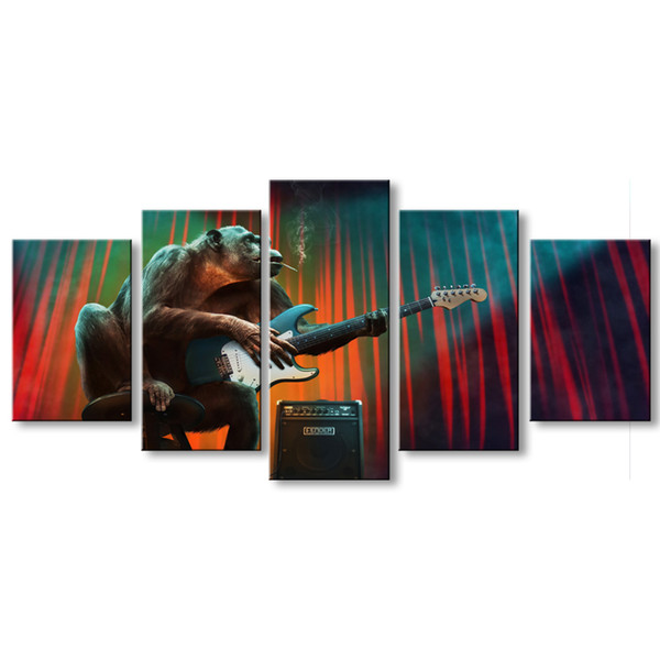 5 pieces high-definition print Smoking monkey playing guitar music canvas poster and wall art living room picture HOUZI-001