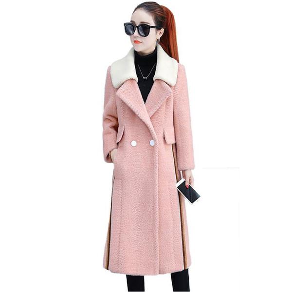 Women 2019 New Spring Autumn Faux Mink Cashmere Coat Female Thicken Warm Overcoat Ladies Elegant Slim Woolen Jacket Outwear V868
