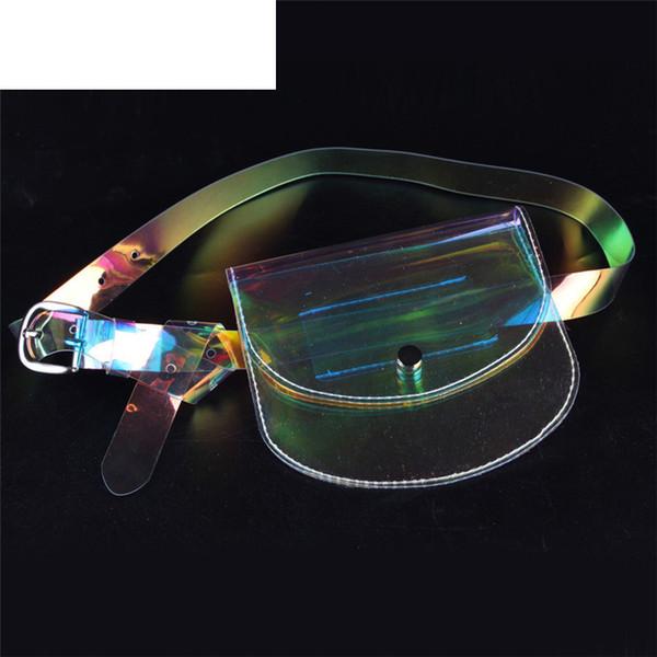 Kaliteli Moda Lazer Mini Şeffaf Pvc Bel Paketleri Kadın Protable Temizle Mini Jöle Çanta Yaz Kadınlar Küçük Bel Çantası