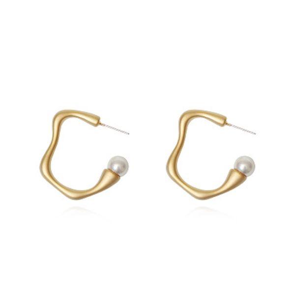 Retro Circle Geometric Pearl Earrings for Women Girls Wave Round Hoop Earring Dangle S925 Silver Needle Vintage Jewelry DHL Wholesale