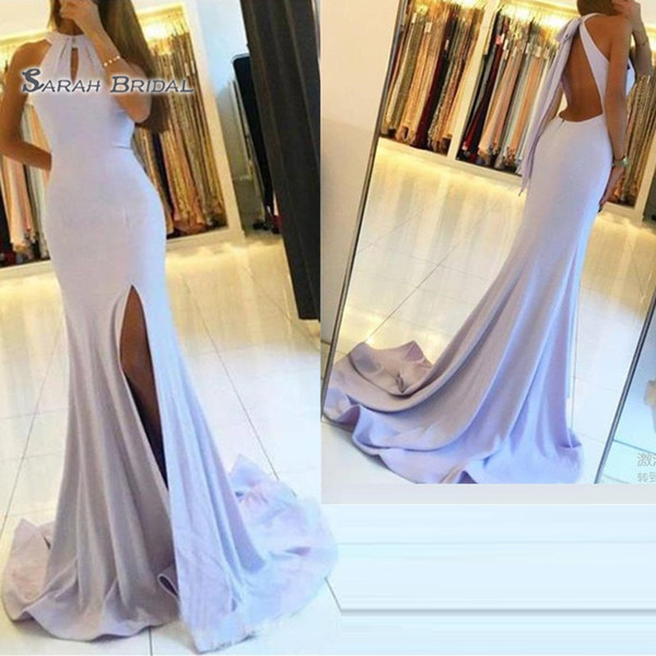 Mermaid Halter Split Backless Sleeveless Prom Dresses Sweep Train Sexy Party Dress Vestidos De Festa Hot Sales