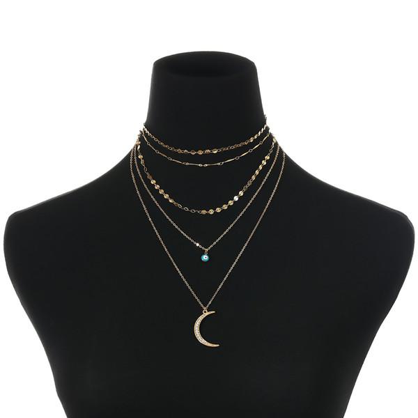 Collier doré pendentif lune collier chaîne de clavicule rétro exagération multi-éléments paillettes femmes ornements de collier pendentif en diamant