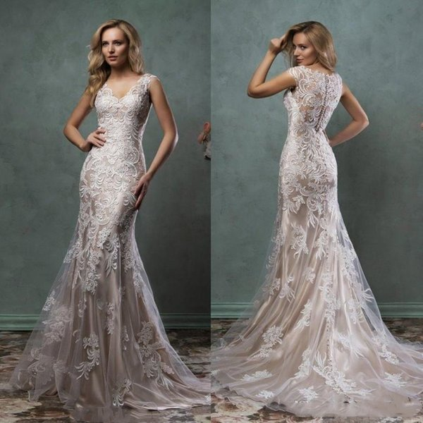2019 Lace Mermaid Wedding Dresses Illusion Bridal Gowns With V Sheer Back Covered Button Ivory Nude Court Train Amelia Sposa Custom Made