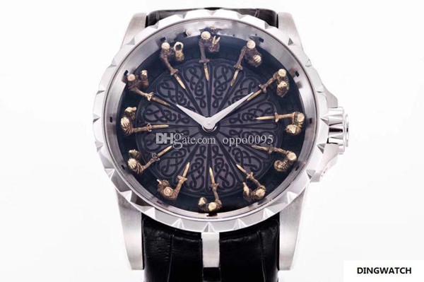 En iyi Sürüm 45mm Excalibur 45 RDDBEX0495 18 k Beyaz Altın Yuvarlak Masa Şövalyeleri Miyota Otomatik Mens Watch Siyah Deri Kayış