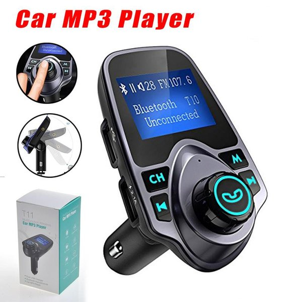 T11 Bluetooth Speaker Car MP3 Music Player with LED Screen USB Charger Support TF Card U Disk with Retail Package