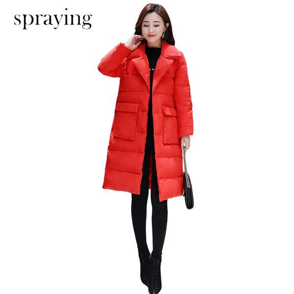 New Korean version Office lady slim Fashion cotton Parka women Elegant top quality jacket Female parka long sleeve coat Y190828