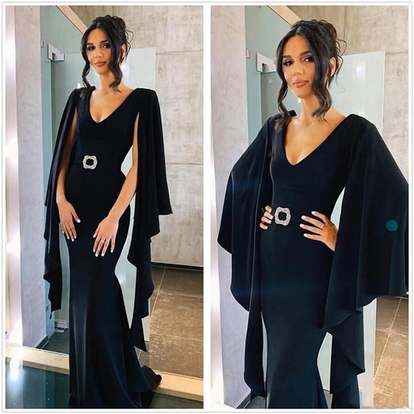 2020 Arapça seksi V Yaka Kadife Denizkızı Uzun Abiye şair kollu Kat Uzunluk Örgün Parti Özel Balo Elbise yapılmış