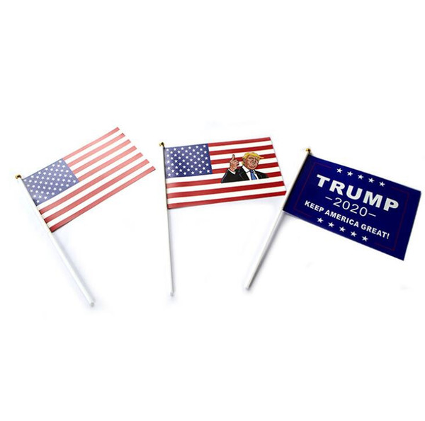 Trump Hand Flag 14*21cm Donald 2020 Synthetic Paper Keep America Great Banner Waterproof Hand Waving Flags OOA6913