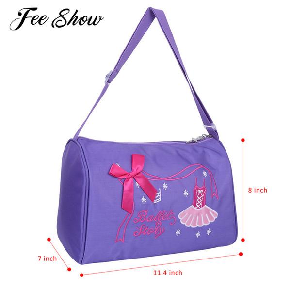 Feeshow Ballerina Ballet Bag Girls Dance Bag Adorable Ballet Dancer Shoulder Duffel Bags for Girls Performance