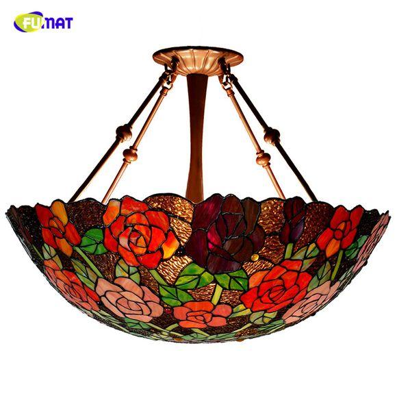 FUMAT Rose shade Lamp Lampade a sospensione in vetro colorato romantico Living Room Hotel Lampade a LED a luce decò Lampade a sospensione