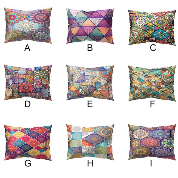 Print Pillowcase Polyester Sofa Cushion Cover Home Decor 30 X 50cm National style polyester pillowcase rectangular