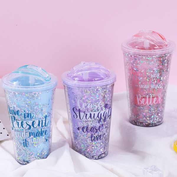 Creative Pineapple Double Decked Cup Graffiti Star Slide Cover Straw Tumbler Festival Favor Gift Cups 14 95gs Ww